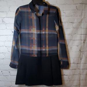 Zara Basic Sheer Plaid & Black Knit Chic Dress